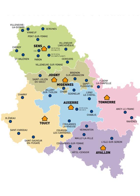 Info carte yonne for Region yonne