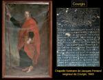 Courgis - Tableau de saint Jacques et pierre tombale du seigneur Jacques Ferrand, XVIIe s.